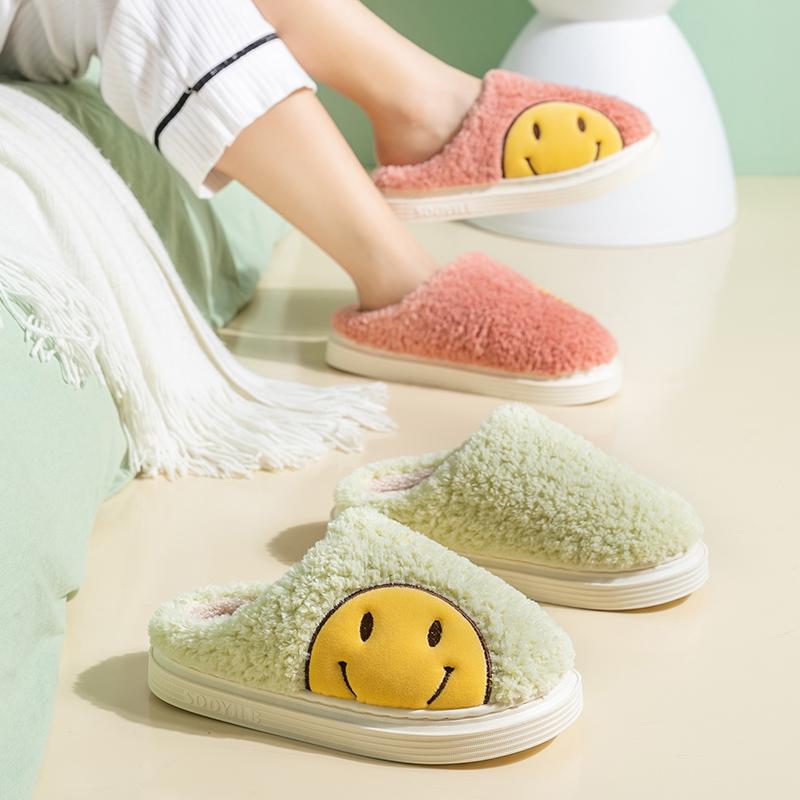 买一送一笑脸拖鞋女冬天可爱居家室内防滑保暖毛毛棉拖鞋男士厚底