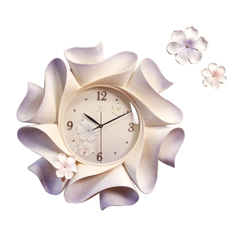 福雕家饰现代简约创意个性浮雕欧式挂钟客厅钟表装饰墙时钟自清洁