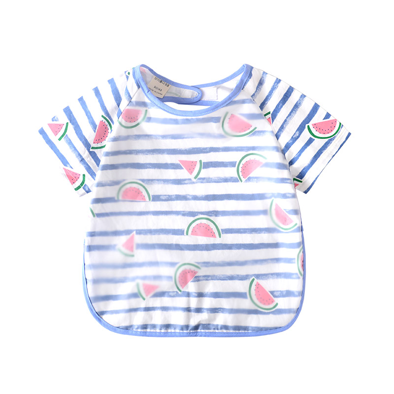 儿童罩衣宝宝防水口水吃饭围兜男女童夏季小孩画画喂饭反穿衣纯棉