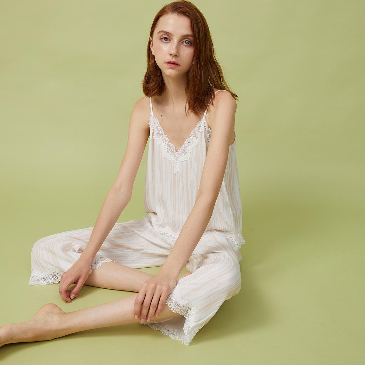 夏季睡衣女性感v领条纹印花蕾丝边吊带八分阔腿裤ins