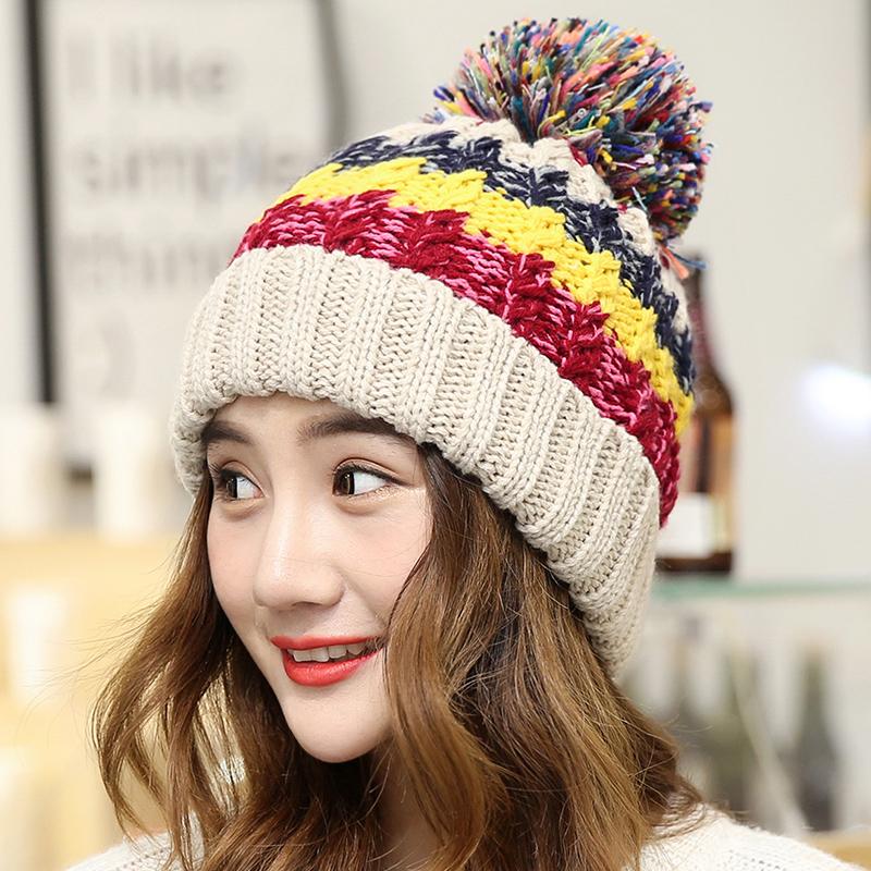 帽子女冬天加厚毛线帽保暖套头秋冬天潮大毛球针织女韩版护耳帽子