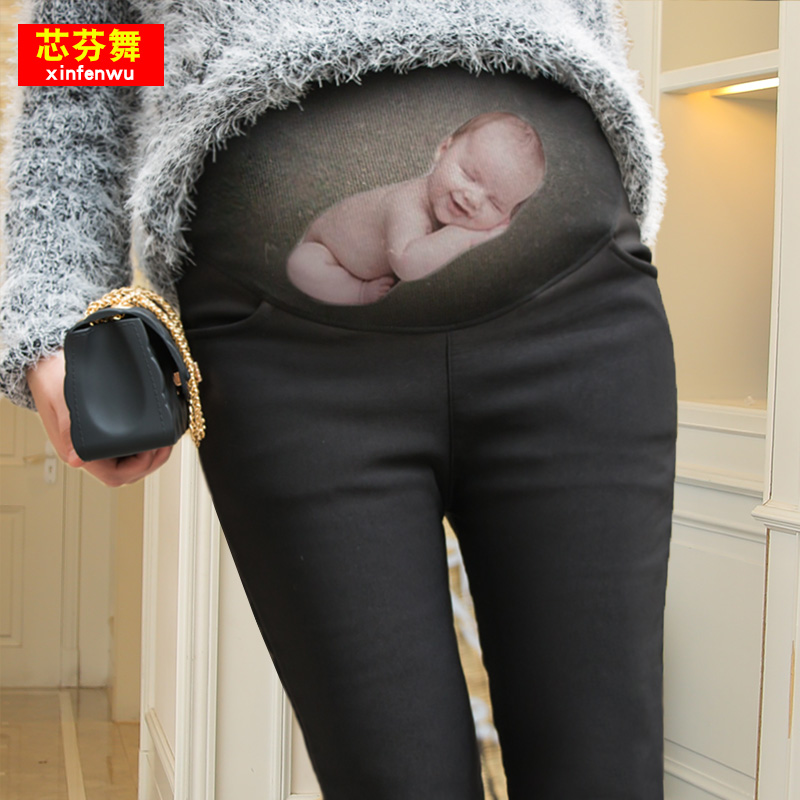 孕妇裤子外穿2018新款秋冬季潮妈加绒加厚打底裤女冬装怀孕期长裤