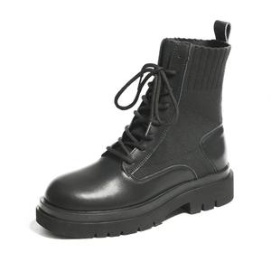 2020年秋冬季新款薄款针织马丁靴女潮ins英伦风厚底帅气短靴短筒