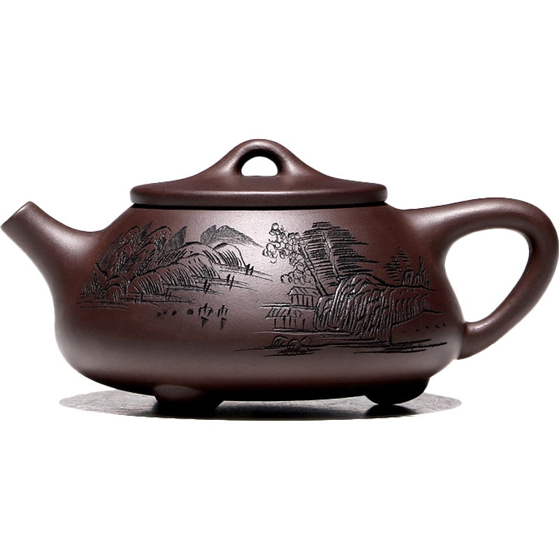 【不亦乐壶】宜兴紫砂壶吴荣华纯全手工茶壶家用 老紫泥石瓢套装