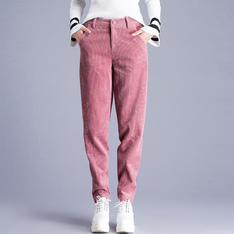 粉色灯芯绒裤子女秋冬加绒加厚条绒老爹裤女宽松休闲哈伦裤萝卜裤