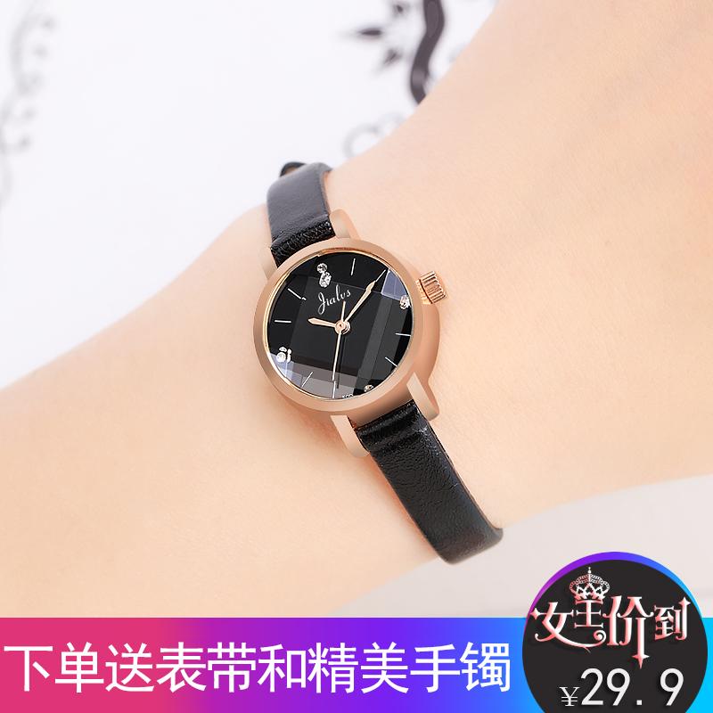 韩版潮流时尚女士手表复古小表盘简约休闲大气防水皮带学生石英表