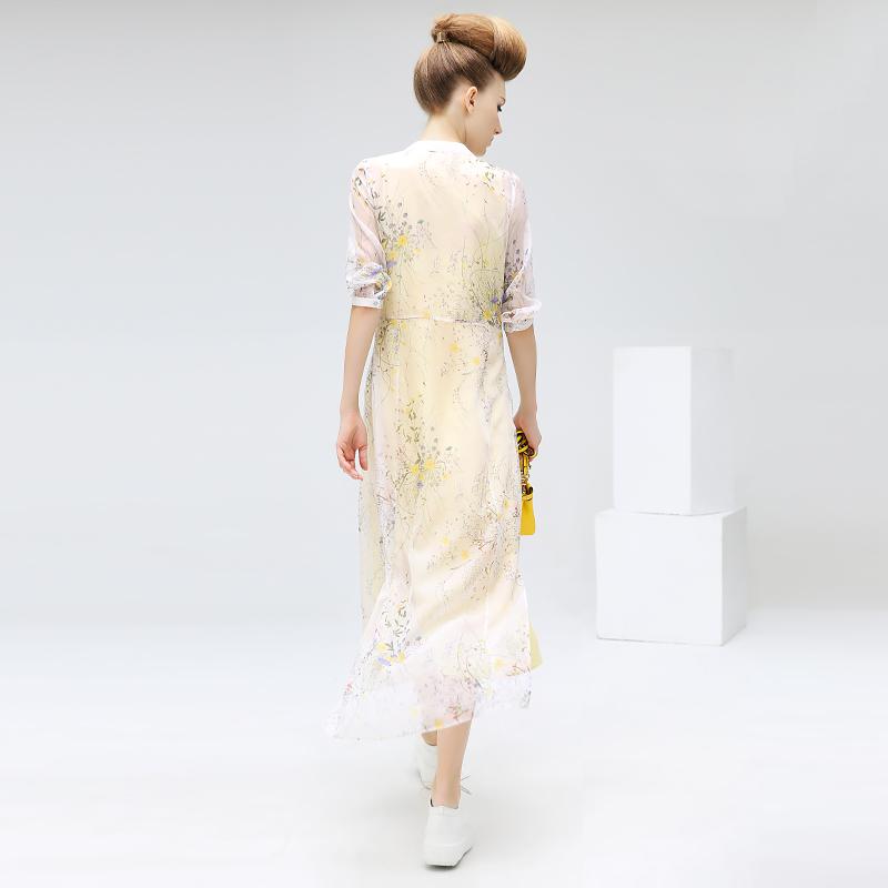 COCOBELLA雪纺连衣裙桔梗碎花长裙V领七分袖小清新裙子DS468