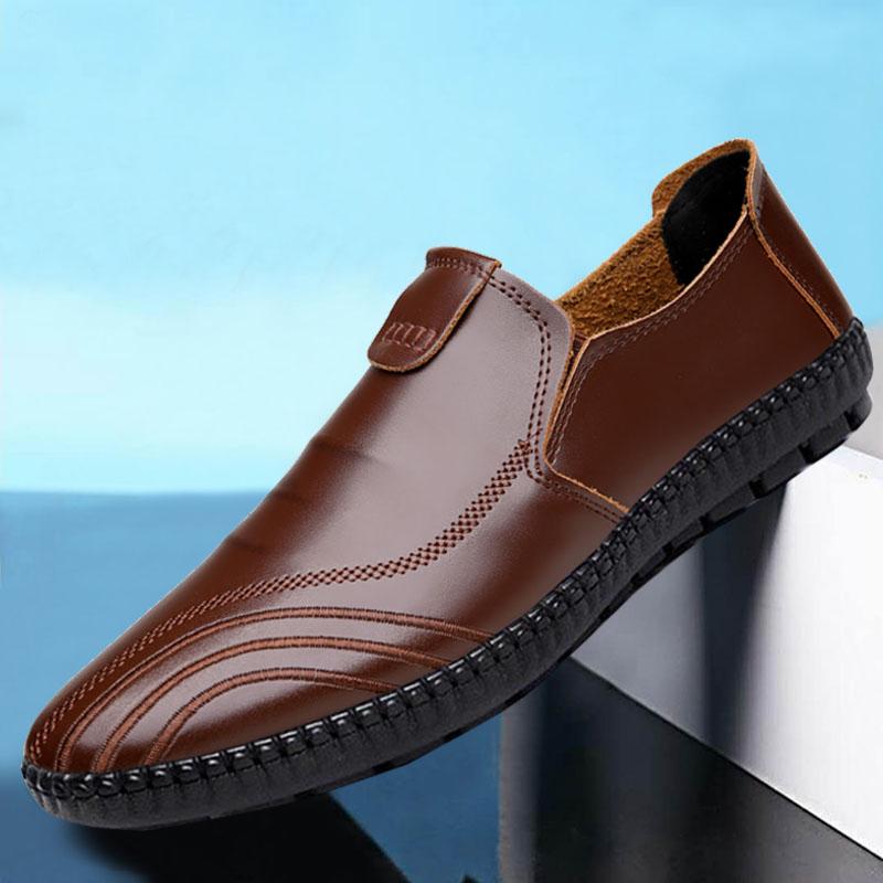 男士休闲皮鞋男软底韩版潮流黑色软面皮英伦商务秋季男鞋冬季鞋子