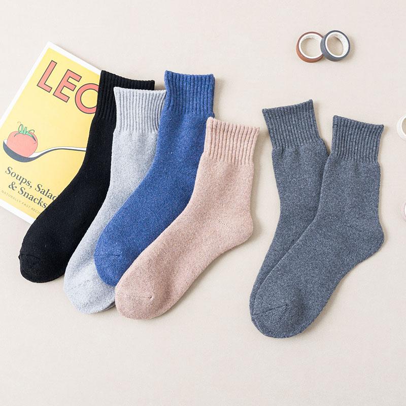 加厚抗寒保暖中筒袜子男女士秋冬季加厚女袜可爱女袜长筒毛圈袜