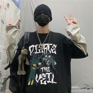2019初秋新款韩版ins原宿风bf嘻哈宽松假两件上衣长袖黑色T恤女潮
