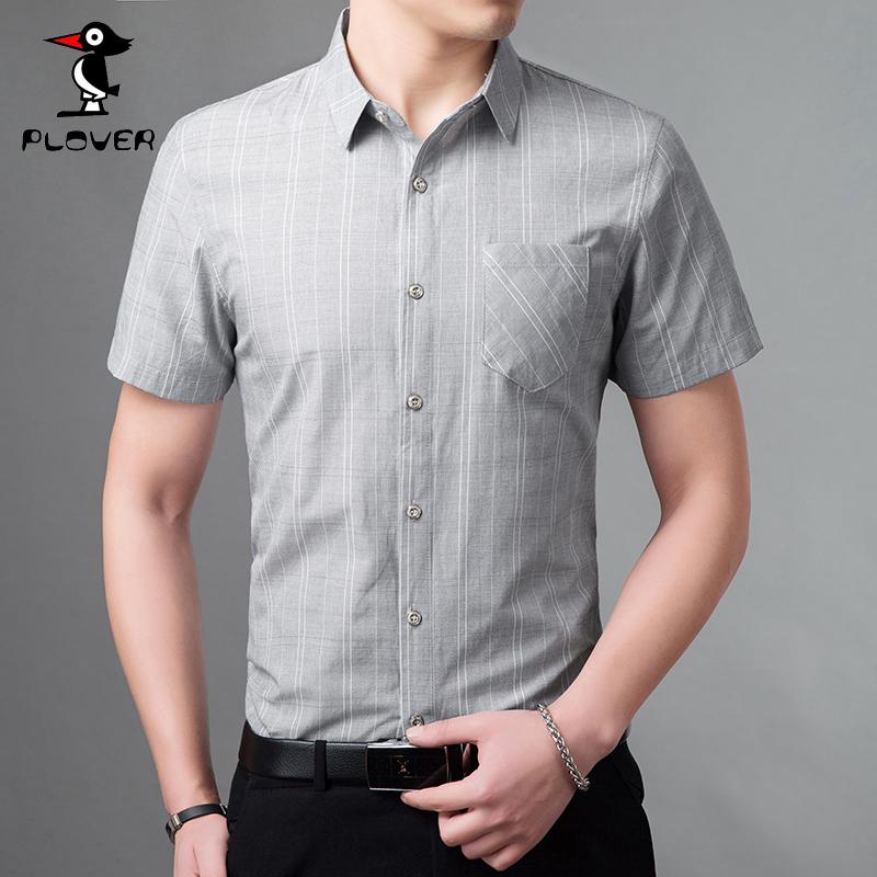 Plover 夏季青年短袖衬衫男士韩版修身衬衣 男装上衣服 免烫抗皱
