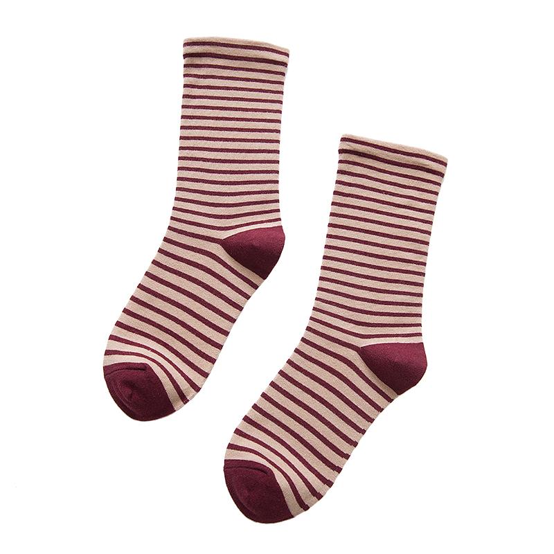 袜子女秋冬季中筒袜纯棉ins潮条纹学院风韩版学生韩国堆堆袜长袜