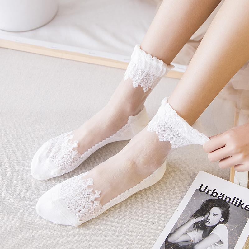 夏季仙女袜子女薄款韩版水晶丝袜透明中筒袜玻璃卡丝短袜日系长袜