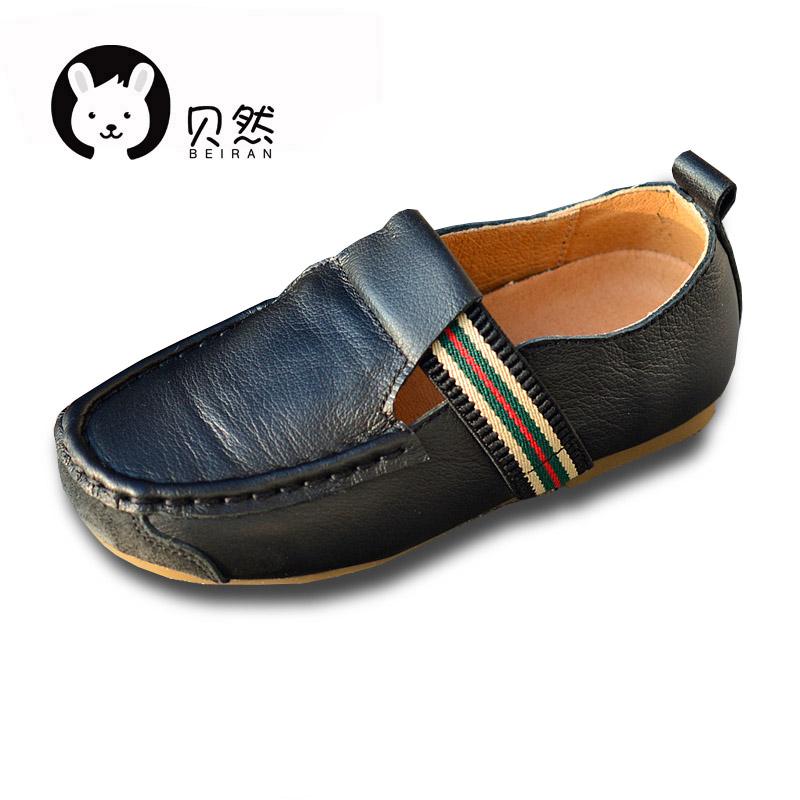 贝然儿童鞋男童软皮休闲皮鞋豆豆鞋春秋款单鞋英伦软底鞋子新款