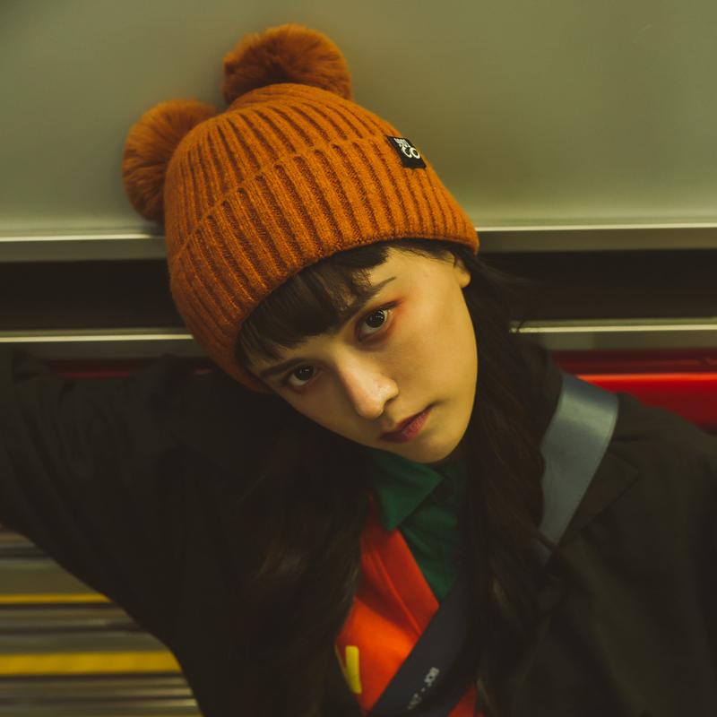 可爱韩国双球熊耳朵加厚毛线帽子女冬天加绒保暖纯色针织帽韩版潮