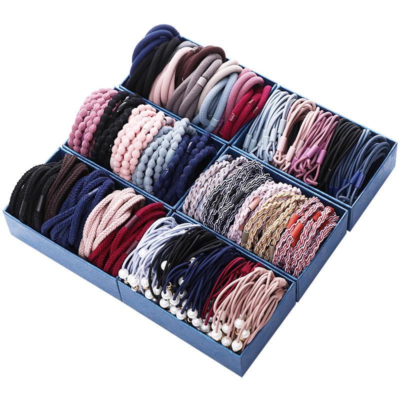 50条盒装成人发圈简约弹力发绳加粗头绳黑色橡皮筋扎头花发饰品