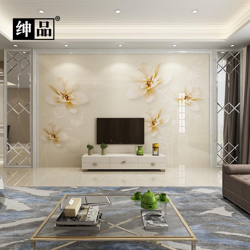 现代简约大气影视墙装饰客厅整体边框造型欧式壁画瓷砖电视背景墙图片