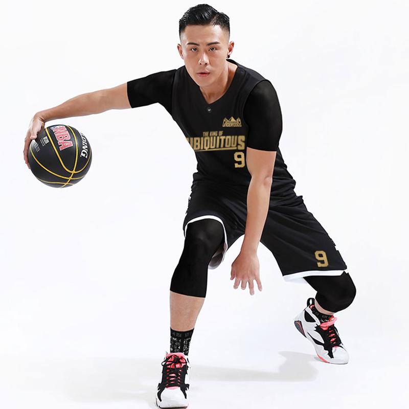 篮球服套装男定制 秋冬比赛训练队服路人王街头个性黑白篮球衣