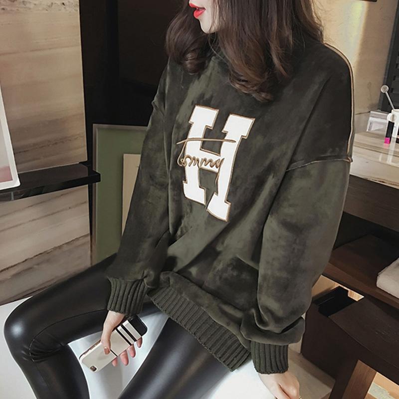 韩版秋冬圆领卫衣女新款套头加厚保暖上衣字母金丝绒面宽松中长款