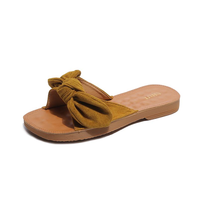夏新款真皮女凉拖软拖鞋时尚一字拖鞋蝴蝶结外穿百搭海边沙滩拖鞋