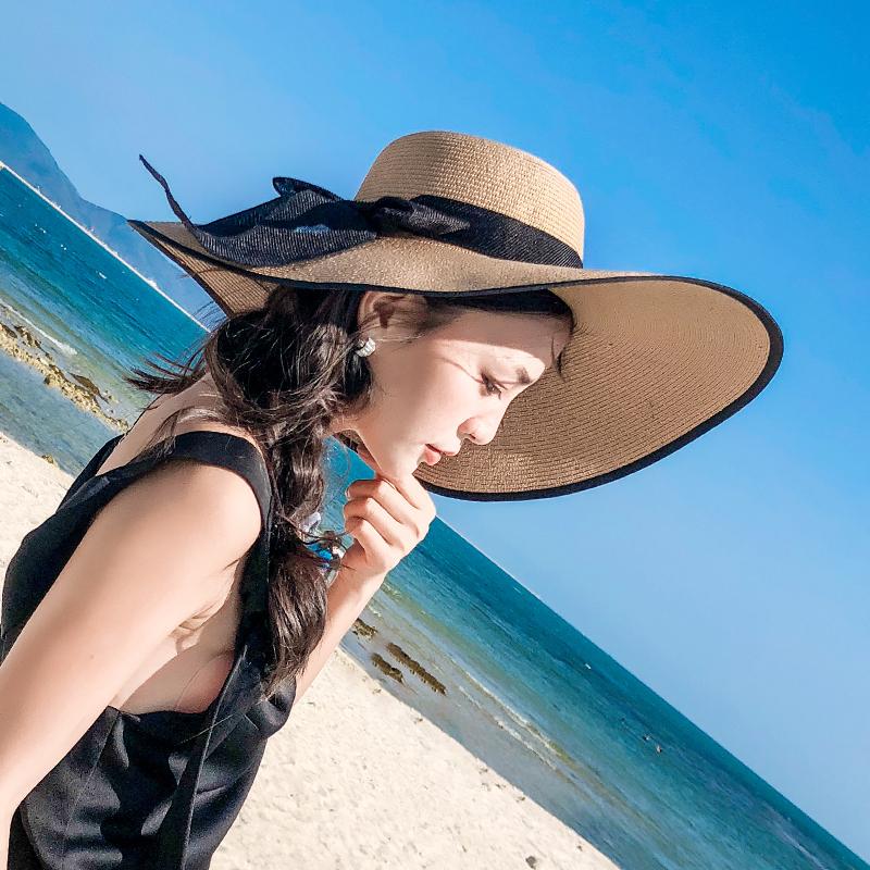 草帽女夏天沙滩帽海边出游度假百搭太阳帽防晒可折叠大檐遮阳帽子