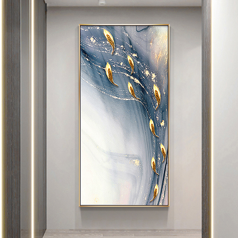纯手绘轻奢九鱼图玄关装饰画走廊过道壁画客厅沙发背景墙挂画油画