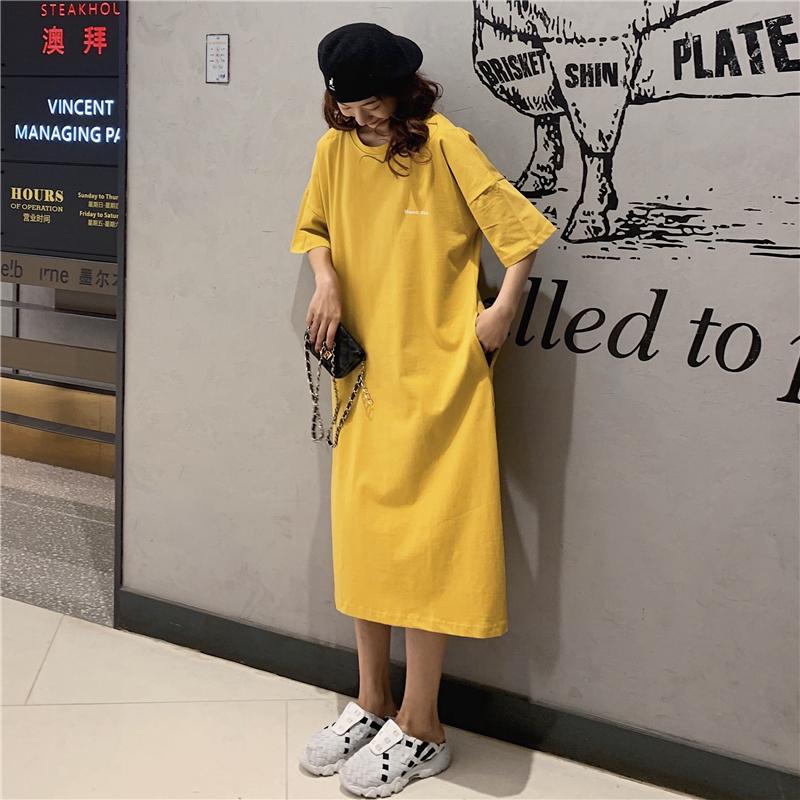 夏装新款韩版宽松大码懒人连衣裙女过膝口袋黄色长款t恤女长裙子