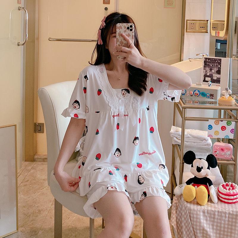 睡衣女夏季韩版短袖两件套可爱卡通小丸子学生休闲甜美薄款家居服