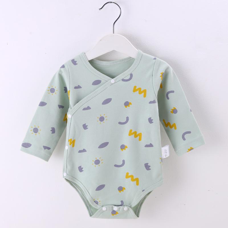 婴儿连体衣纯棉宝宝哈衣长袖爬服新生儿衣服护肚三角哈衣秋包屁衣