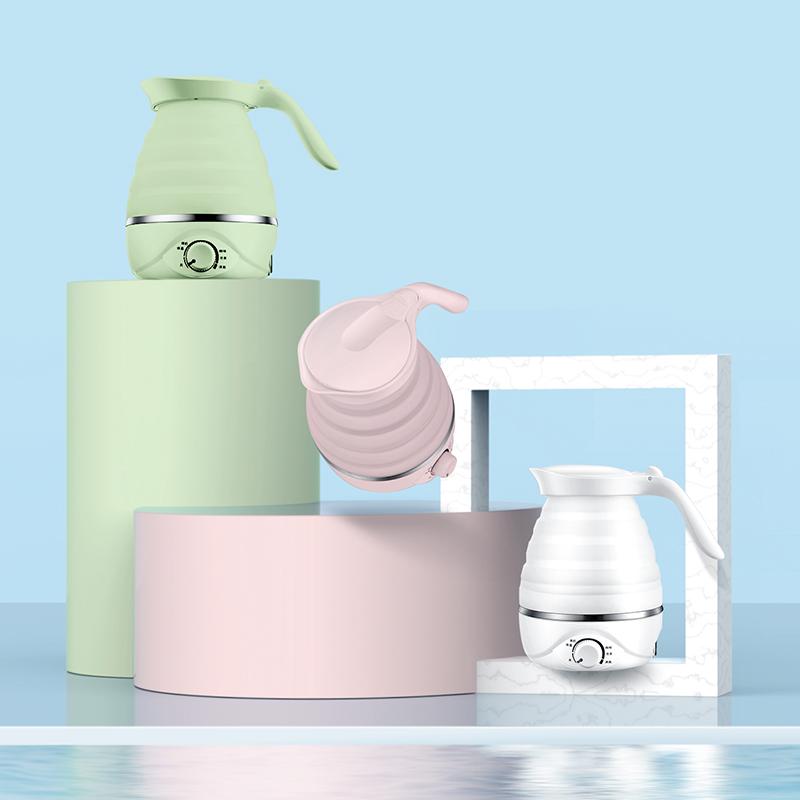 妙丁旅行折叠便携式烧水壶迷你小型烧水硅胶电热水壶自动恒温断电