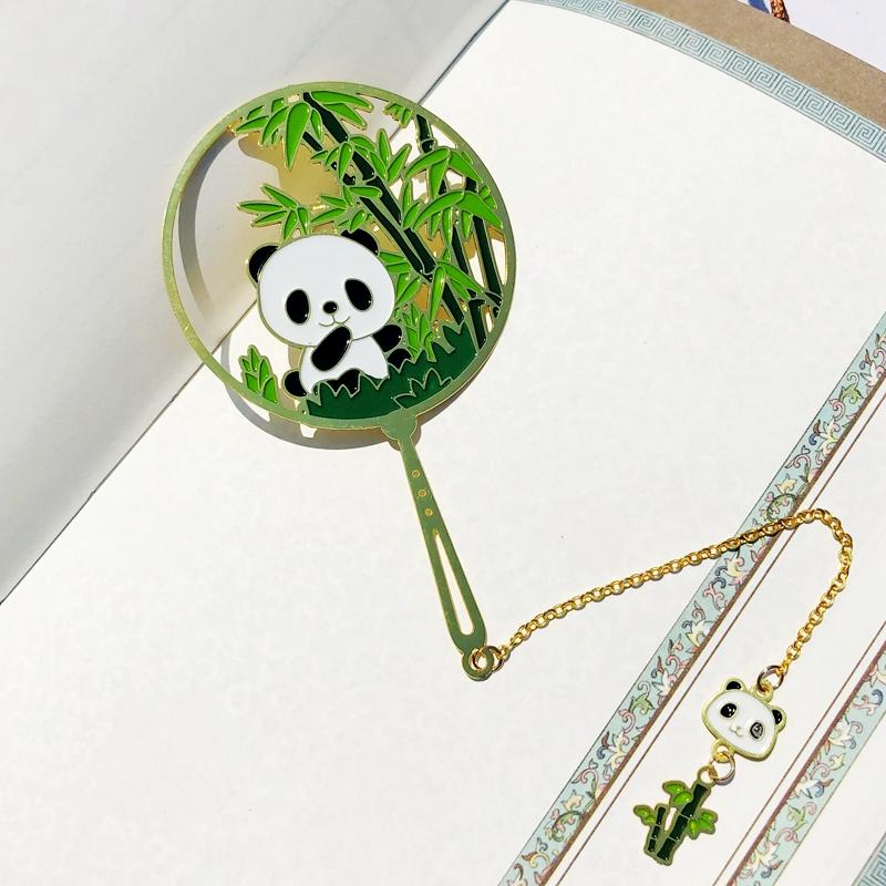 金属书签古典中国风熊猫镂空创意书签学生用古风礼物宫廷文创礼品