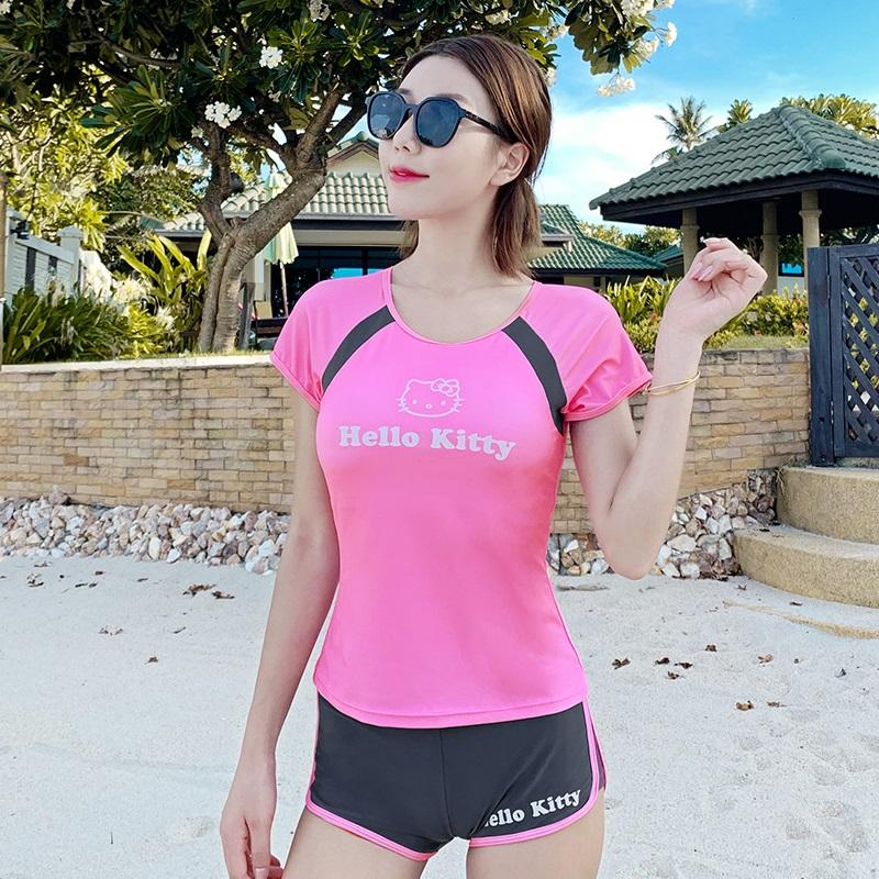 hellokitty泳衣女青少年大童保守2019新款分体游泳衣可爱运动泳装