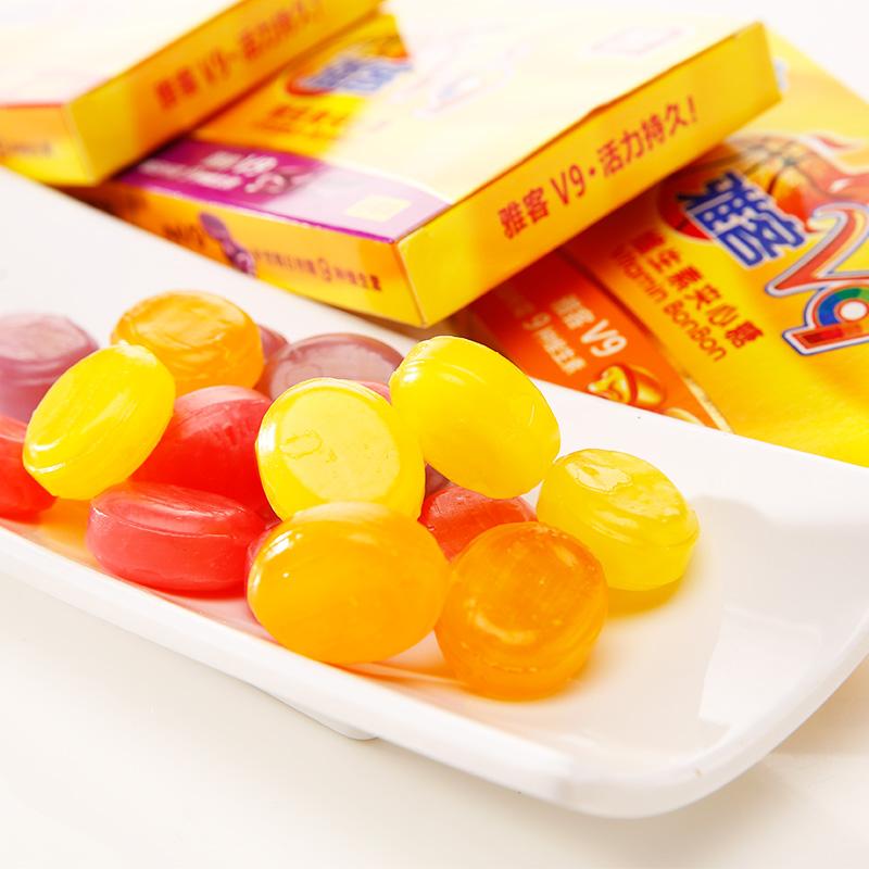 雅客V9维生素夹心糖48g水果味儿童糖果维生素C夹心硬糖网红零食