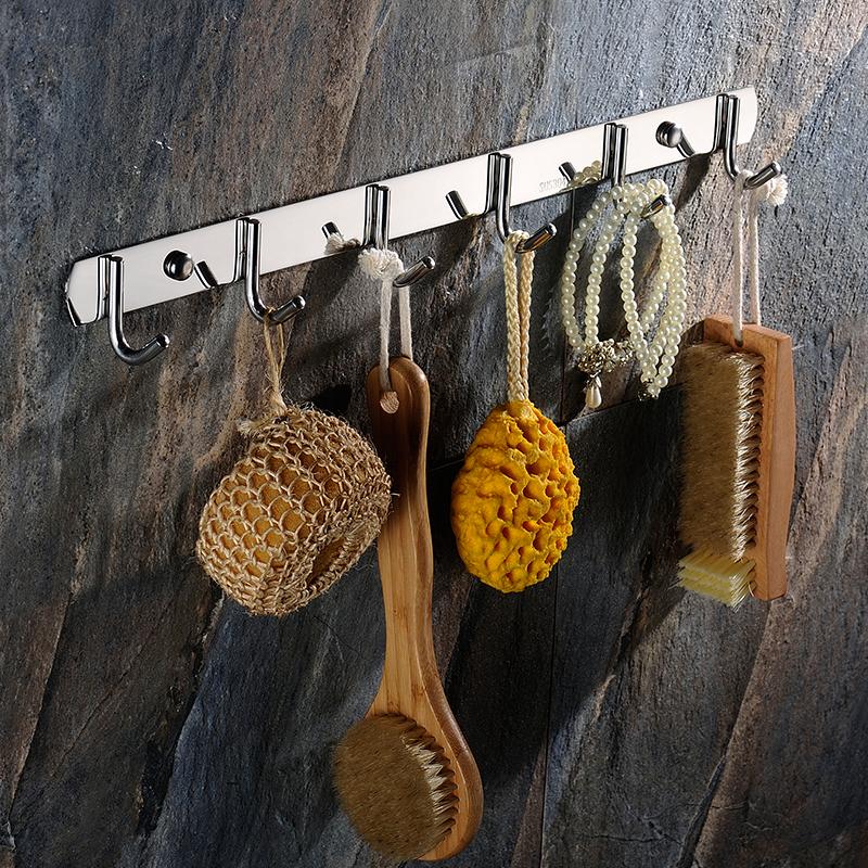 进门挂衣钩壁挂墙壁免打孔排钩壁挂式创意不锈钢墙上浴室衣服挂钩