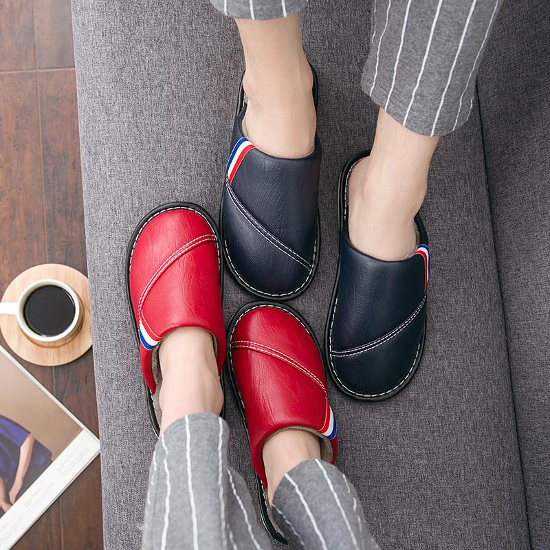 皮棉拖鞋女冬季情侣防滑防水保暖软底月子棉拖鞋家居家用室内男士