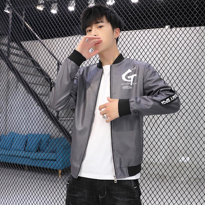 休闲皮夹克男士2020年秋春新款机车皮衣韩版修身帅气立领上衣外套