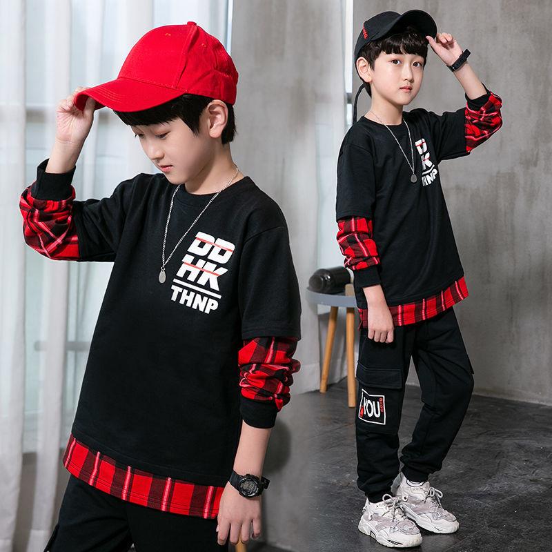 男童2020新款春秋套装儿童中大童男孩子长袖运动两件套时尚帅气潮