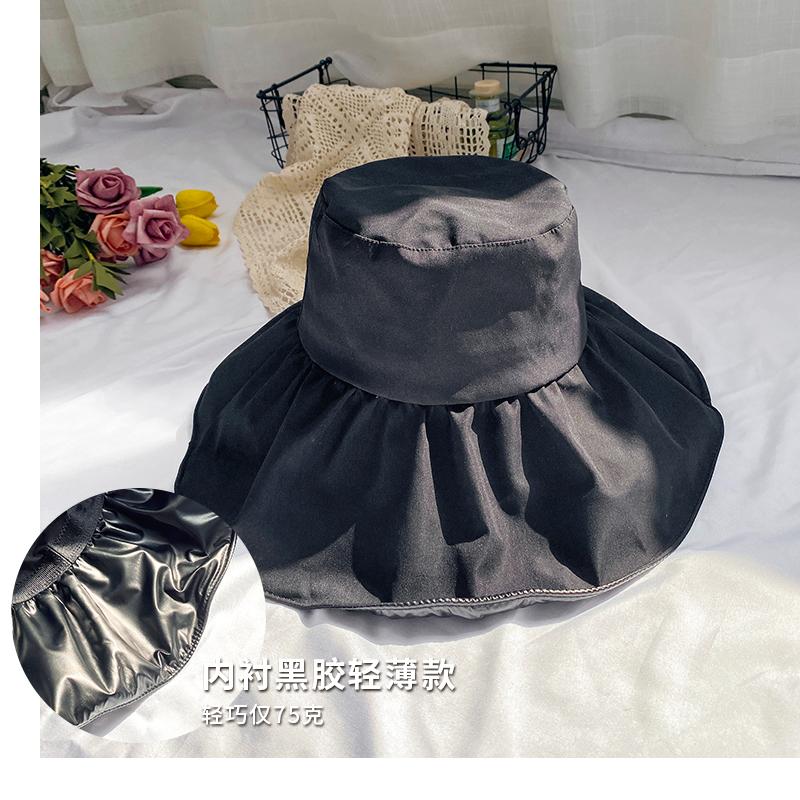 日本UV黑胶防晒帽女夏季薄款防紫外线遮脸渔夫帽大沿遮阳太阳帽子