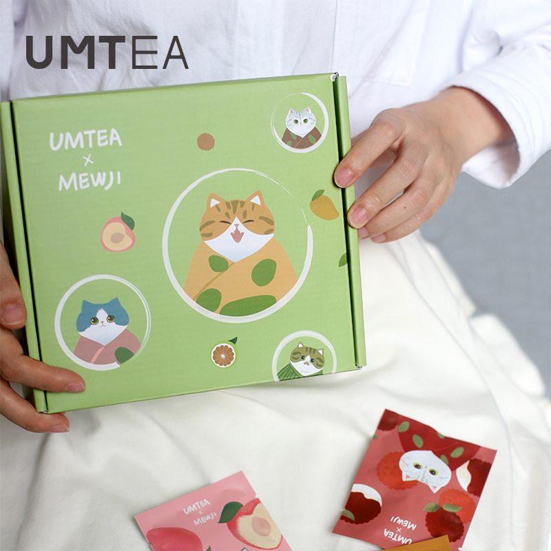 UMTEA x MEWJI|联名妙吉教师礼盒猫主题插画杯子礼盒荔枝白桃花茶