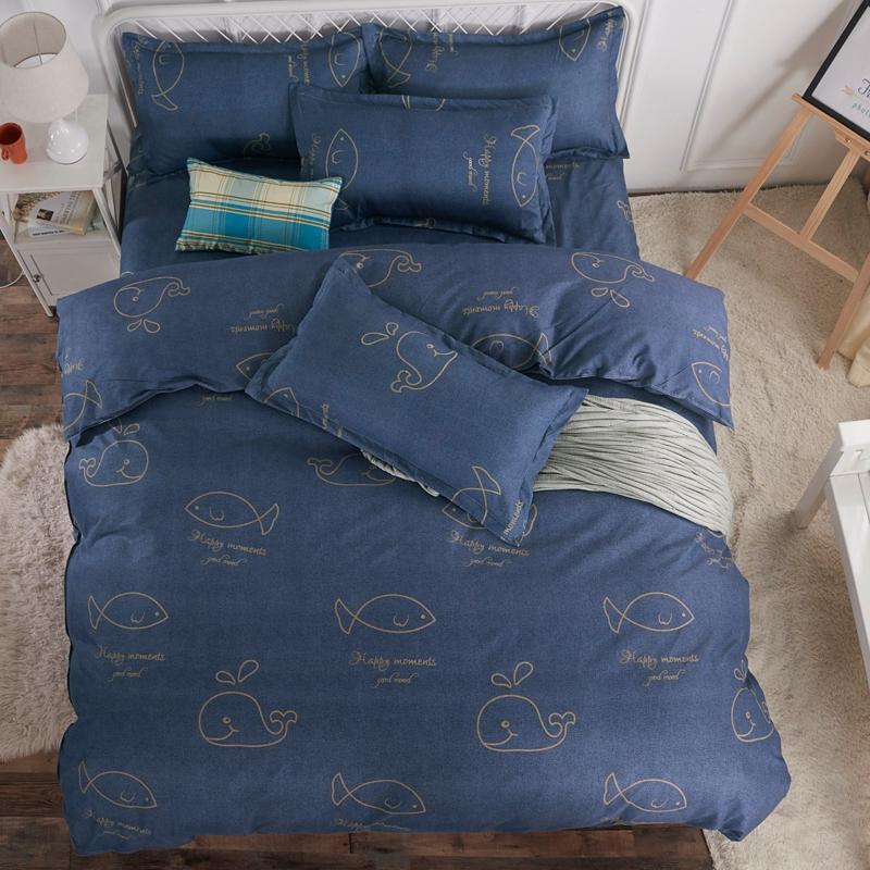 纯色磨毛四件套全加厚被套学生宿舍床单三件套简约1.8m床上用品