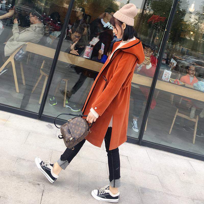 斗篷毛呢外套女中长款2018冬装新款韩版连帽显瘦焦糖色呢子大衣潮
