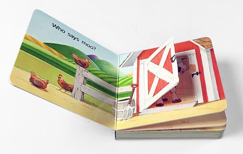 进口英文原版绘本 Open The Barn Door Find a Cow 农场动物认知拟声词趣味翻翻纸板书 0-3岁儿童启蒙益智幼教亲子互动玩具图画书