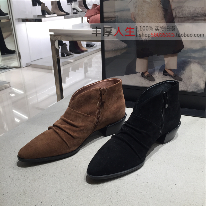 LOF20 冬款羊绒方跟尖头时尚女短靴子 2019 妙丽女鞋 Millies 专柜正品