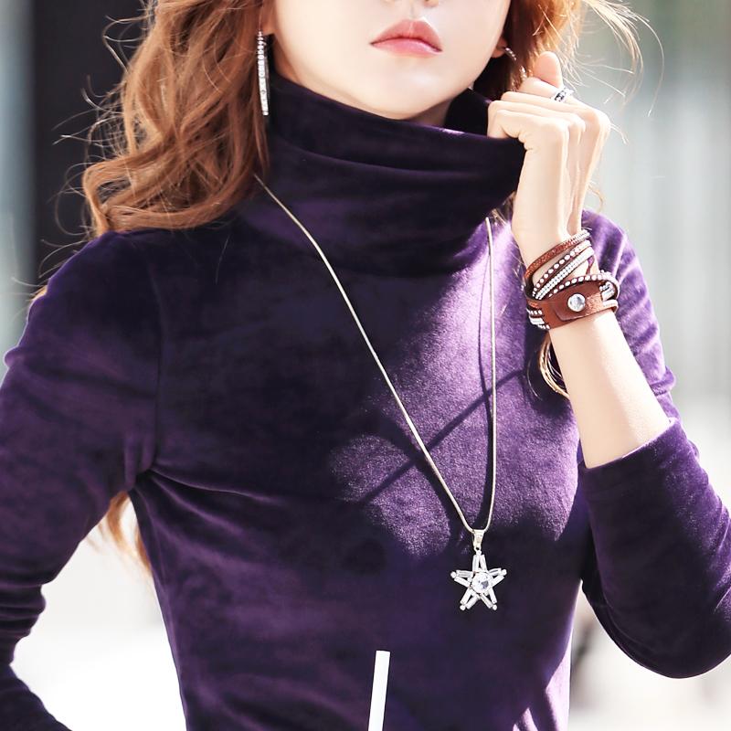 加绒加厚高领打底衫女秋冬长袖2019洋气新款金丝绒内搭堆堆领上衣