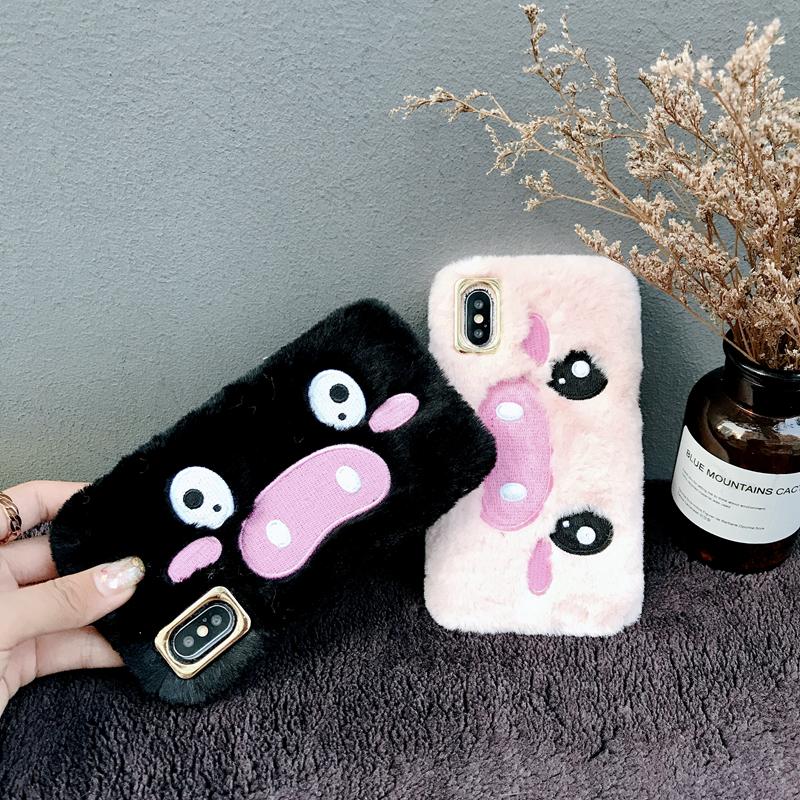 日韩毛绒刺绣呆萌小猪苹果X/XsMax/XR手机壳iphone7plus8软套女6s