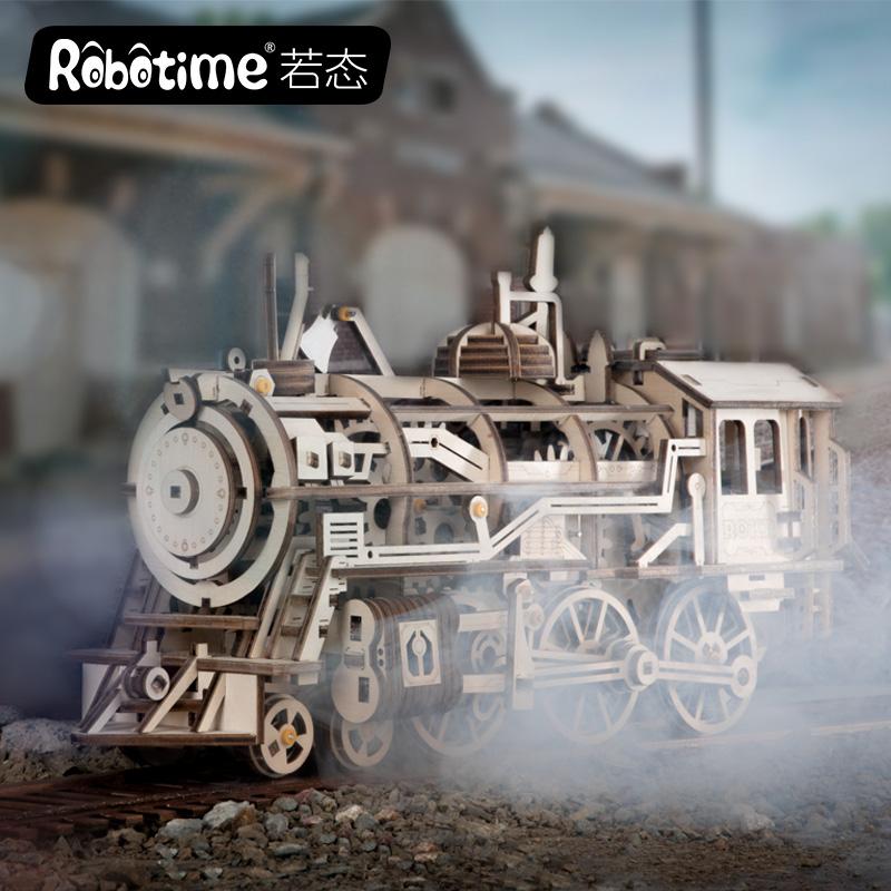 LK 木质机械传动模型手工制作拼装火车头创意生日礼物 DIY 若态若客