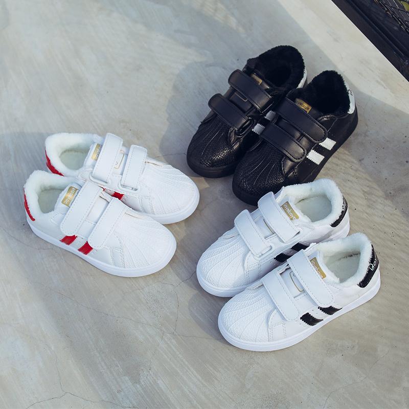 女童小白鞋男童鞋子2018秋冬季新款儿童贝壳头板鞋加绒宝宝二棉鞋