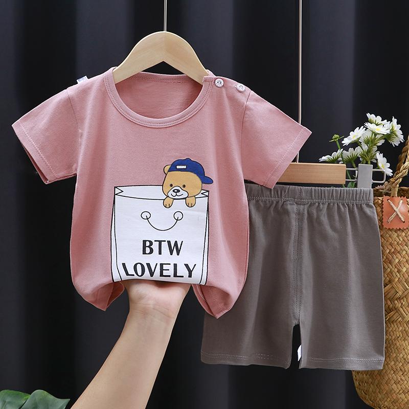 儿童短袖套装夏季男童童装婴儿纯棉小孩衣服女童短裤宝宝夏装童装