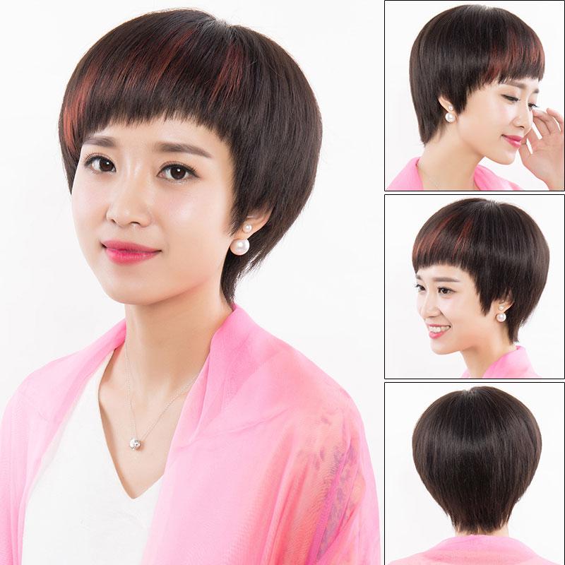 恒发假发女短发真人发丝抖音同款造型头套自然帅气真