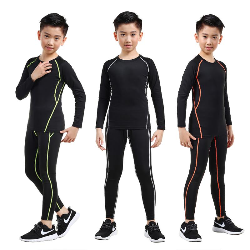 儿童紧身衣训练服速干衣男跑步打底衫秋冬篮球足球运动健身服套装